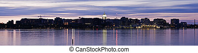 Panoramic Madison, Wisconsin Downtown seen accross Lake...
