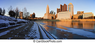 Winter in Columbus, Ohio - panoramic view of the city