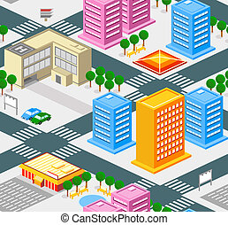 City seamless pattern - Isometric city seamless pattern with...