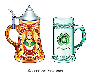 Beer steins - Decorated beer steins for Oktoberfest and...