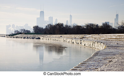 Icy morning in Chicago, Illinois