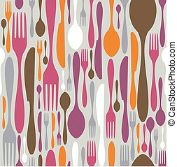 Cutlery silhouette icons pattern background
