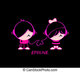 Emo love - Emo pair in music love isolated over black