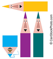 group of funny pencils