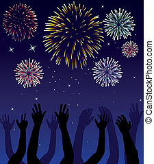 fireworks and hands