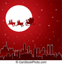 holiday background with santa - urban holiday background...