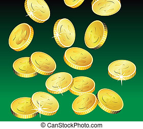 golden coins - vector golden coins on green background