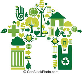 House symbol with environmental icons - House silhouette...