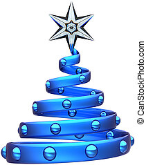 Christmas tree blue abstract symbol - Christmas tree...