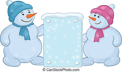 Snowman kids with sign