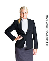 Half length portrait of attractive young businesswoman.