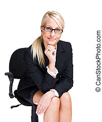 Friendly blond business woman - Portrait of friendly...