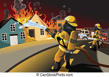 Firefighters - A vector illustration of firefighters trying...