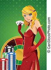 Poker woman - A vector illustration of a beautiful woman...