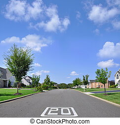 Speed Limit Suburban Neighborhood - Street speed limit 20 in...