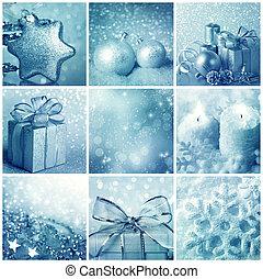 青, コラージュ, クリスマス
