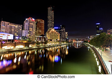 Melbourne by Night - Melbourne, Australia, by night. View of...
