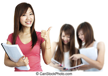 Adult Students - Female student thumbs up with great smile.