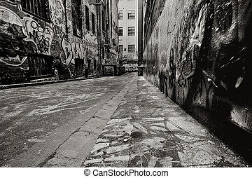 Graffiti Alley - Alley, with dumpsters, covered in graffiti...