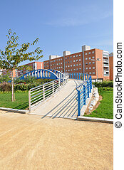 Handicap Accessible Footpath Bridge in Urban City