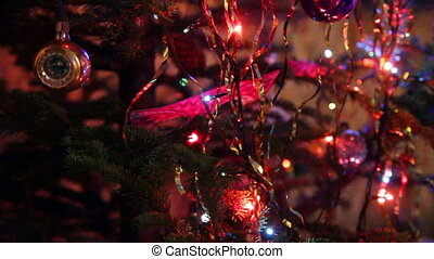 christmas fir with colored lightings