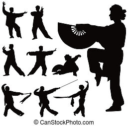 Tai Chi silhouettes collection - Nine black silhouettes of...