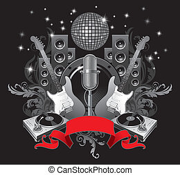 Vector illustration with musical equipments