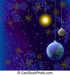Christmas background, snow in space - Symbolic background,...