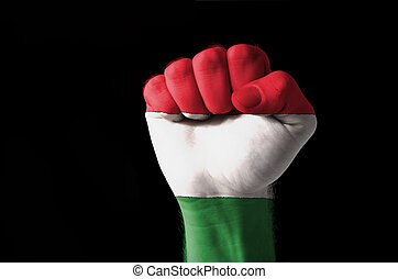 Fist painted in colors of hungary flag - Low key picture of...