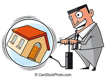 Real estate bubble - Isolated illustration Speculator...