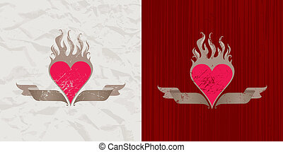 Vector vintage flaming heart - Old paper and wood with...