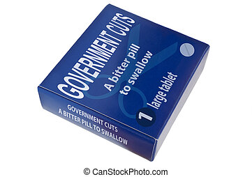 Government cuts concept - A single blue medication...