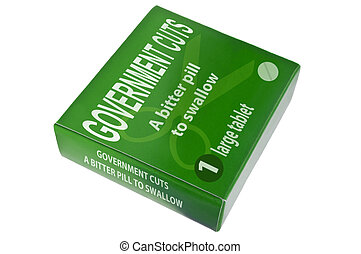 Government cuts concept - A single green medication package...