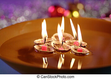 Floating Candles in Bowl of Water - Christmas tradition -...
