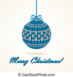 Knitted Christmas Ball. Vector illustration.