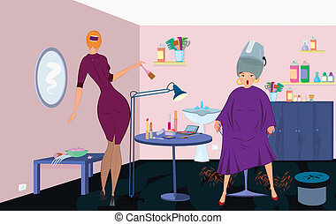 Beauty salon worker with brush and client under blow dryer...