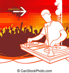 DJ on Party - vector illustration