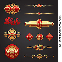 Red & gold luxury design elements - Red & gold luxury vector...