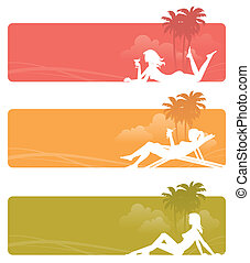 Vector banners - silhouettes of a relaxing girls on tropical landscape
