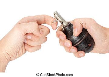 old hand grenade in a hand - old hand grenade in a mans hand...