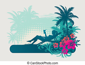 Girl drinking cocktail on a tropical landscape - vector illustartion