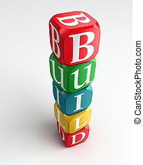 build 3d colorful buzzword