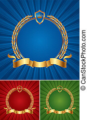 Round golden vector frame with ribbon and wreath