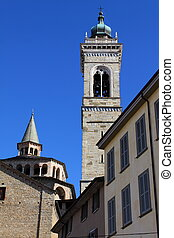 Basilica and tower bell in Bergamo, Lombardy, Italy