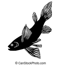 silhouette of fish on white background