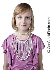 little princess in purple dress isolated on white