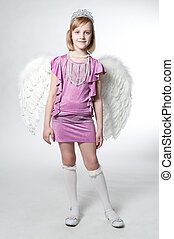 little princess in purple dress and wings