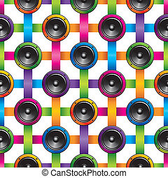 Seamless vector colorful background of loudspeakers