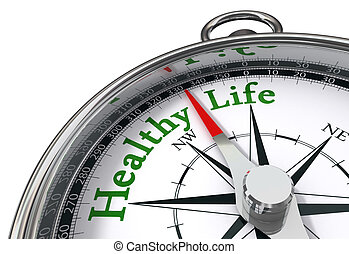 healthy life concept compass - healthy life indicated by...