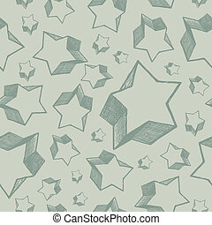 Hand drawn stars - vector seamless background